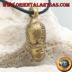 """Brass pendant sculpture in the shape of a phallus """"symbol of fertility"""" with engraved Hindu writings (small)"""