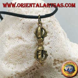 """Brass pendant sculpture in the shape of """"Vajra"""" or """"Dorje"""" symbol of lightning and diamond (small)"""