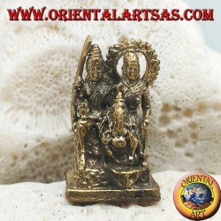 """Sculpture of the family with Ganesh """"the elephant God"""", """"Parvati"""" and """"Siva"""" (Shiva) in brass (small)"""