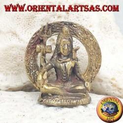 """Buddha sculpture """"Bhumisparsha Mudra - Subduing the demon Mara"""" in the brass circle (small)"""