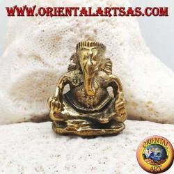 """Skulptur Ganesh """"der Elefantengott"""" sitzt in Messing (klein)"""