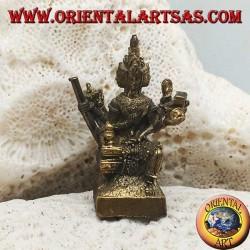 """Escultura Brahma """"el dios creador del universo material"""", hecha de latón (pequeño)"""