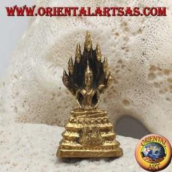 """Scultura Buddha """"Dhyana Mudra - simbolo di meditazione e saggezza"""" nella foglia in ottone (piccola)"""