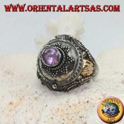 Anello a scatola in argento con ametista tonda su stella a otto punte e piastrina d'oro sui lati
