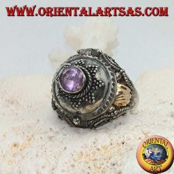 Silver box ring with round amethyst on eight-pointed star and gold plate on the sides