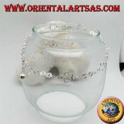 Cavigliera in argento con stelle traforate e spirali alternate e un campanellino