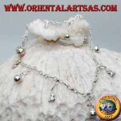 Cavigliera in argento con orsetti e campanellini pendenti alternati
