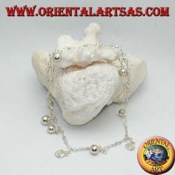 Bracelet de cheville en argent avec alternance de spirales et de cloches suspendues