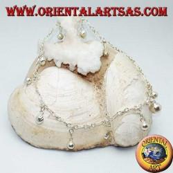 Cavigliera in argento con fragole e campanellini pendenti alternati