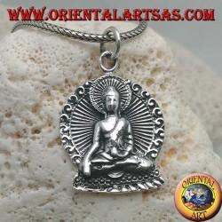 """Ciondolo in argento Buddha in posizione di """"Bhumisparsha Mudra"""" con aureola nel disco"""