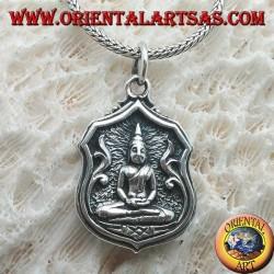 """Ciondolo in argento Buddha """"Dhyana Mudra"""", simbolo di meditazione"""" nel quadretto con simbolo """"Unalome"""" sul retro"""