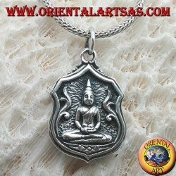"""Silver Buddha pendant """"Dhyana Mudra"""", symbol of meditation """"in the picture with writing on the back"""