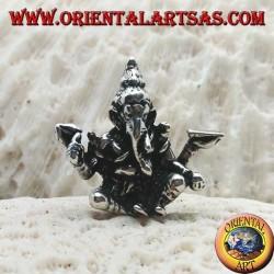 """Dreidimensionaler Silberanhänger Ganesh """"der Elefantengott"""" sitzt in einer Position des Gleichgewichts / Gleichgewichts"""