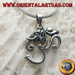 "Silver pendant with ॐ om with the head of Ganesh ""the elephant god"""