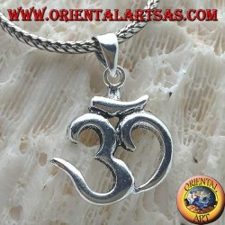 Smooth silver pendant in the shape of ॐ om (sacred Hindu mantra)