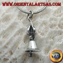 Smooth Tibetan Gantha silver pendant (Buddhist bell)