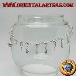 Bracelet de cheville en argent avec des coeurs suspendus lisses et une cloche