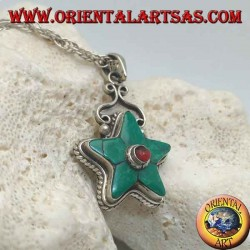 Silver star pendant crowned with Tibetan turquoise and round coral in the center