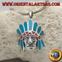Pendentif en argent, tête d'amérindienne d'Amérique avec coiffe de plumes turquoise et corail