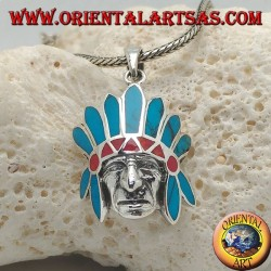Silver pendant, head of a native american from america with headdress of feathers with turquoise and corals