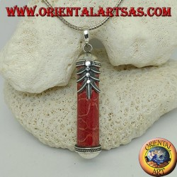 Silver cylinder pendant of red madrepora (coral) with decorations and palm leaf