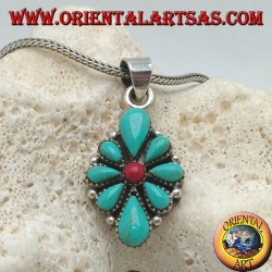 Silver pendant, rhomboid shield with native teardrop turquoise and a central round coral