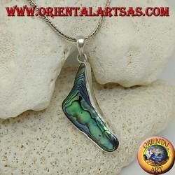 Ciondolo in argento a forma di parentesi con paua shell (abalone)