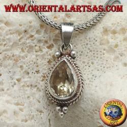 Ciondolo in argento con Topazio giallo naturale a goccia contornato da intrecci e palline