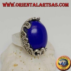 Silver ring with oval cabochon sodalite and decorations with floral marcasites on one side only