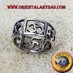 Anello Fedina Om (sillaba sacra ) traforato a riquadri in argento
