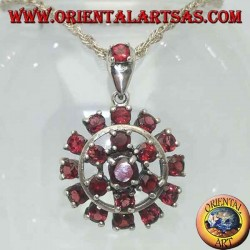 Round garnet silver pendant surrounded by a six-pointed star and a circle of garnets
