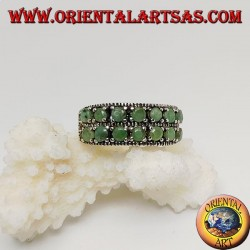 Band silver ring with two rows of round emeralds set and marcasite on the sides
