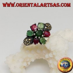 Silver hexagonal flower ring with emeralds and round natural rubies set and narcassite on the sides