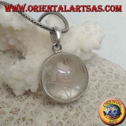 Silver pendant with sun in the star engraved on the round rock crystal back