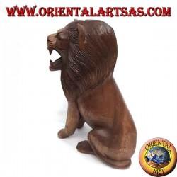 Scultura leone seduto in legno di Suar da 30 cm scolpita a mano un unico blocco
