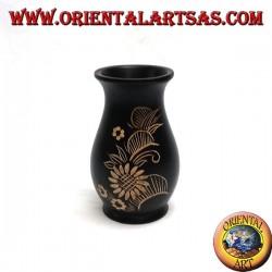 Vaso portafiori in legno di mogano con incisioni floreali da 15 cm