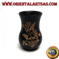 Mahogany flower vase with floral incisions 20 cm (wide)