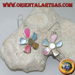 Starfish-shaped silver earrings with multicolor mother of pearl