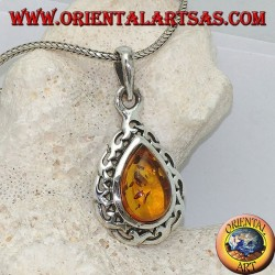 Silver pendant with natural teardrop amber surrounded by interwoven interwoven silver threads