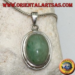 Silver pendant with oval cabochon aventurine on double smooth disc