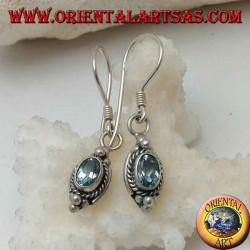 Silver earrings with natural oval blue topaz surrounded by intertwining and three balls above and below