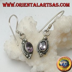Silver earrings with natural oval amethyst surrounded by intertwining and three balls above and below