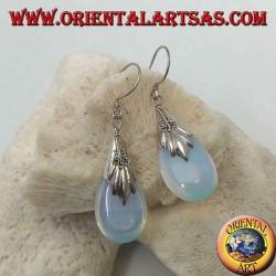Silver drop earrings with sea opal