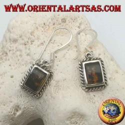 Silver earrings with rectangular amber framed by a weave