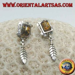 Silver earrings with natural amber, rectangular frame and hanging feather
