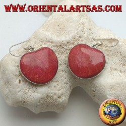 Silver earrings with heart-shaped red madrepora (coral)