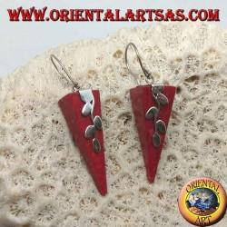 Orecchini in argento con madrepora rossa (corallo) a piramide rovesciata e ramoscello d'argento