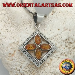 Silver cross pendant of 4 natural shuttle ambers in an engraved square