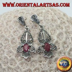 Silver earrings with natural oval ruby set on an elegant perforated frame studded with marcasite