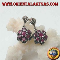 Silver flower of life earrings (six petals) with natural round rubies set surrounded by marcasite